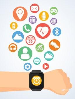 Smartwatch에 smartwatch 및 응용 프로그램 아이콘으로 손
