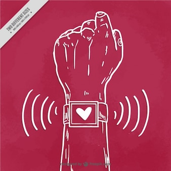 Hand with smartwatch background