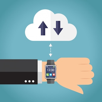 Hand with smartwatch connecting