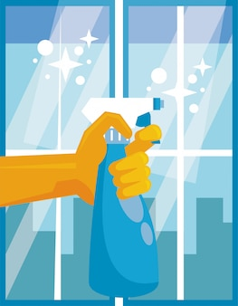 Hand with splash spray bottle disinfectant icon