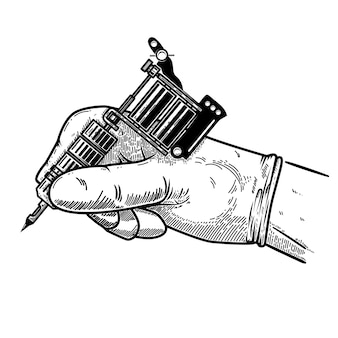 Hand with tattoo machine.  element for poster, card, t shirt, emblem, sign.  illustration