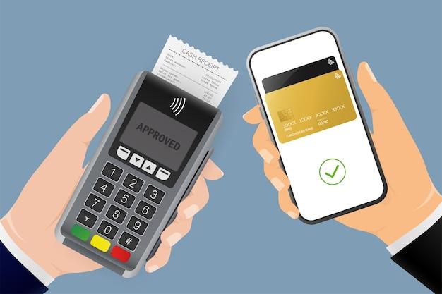 Рука с терминалом и смартфоном. абстрактная онлайн-оплата для мобильного устройства. онлайн-транзакция.