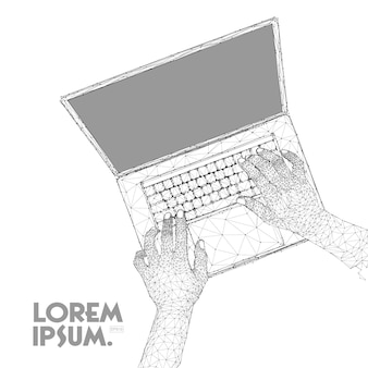 Hand working laptop computer in line low polygon style.