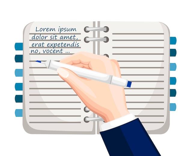 손 쓰기 텍스트. 책갈피가있는 노트북. 파란색 텍스트 템플릿이있는 메모장 모형. 평면 그림 흰색 배경에 고립입니다. 화려한 사무실 공급 아이콘입니다.