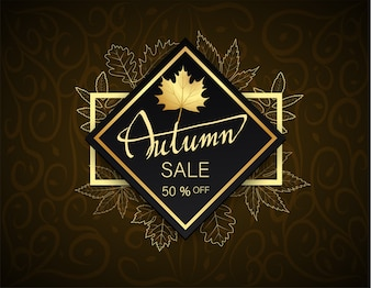 Hand writing Autumn sale 50% border