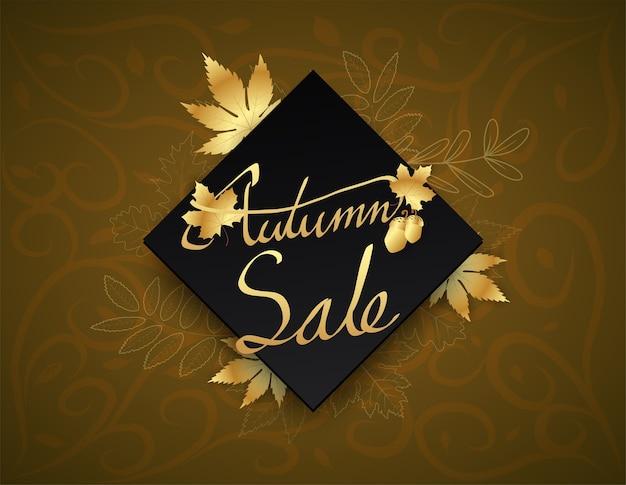 Hand writing autumn text  boder, banner premium black gold.