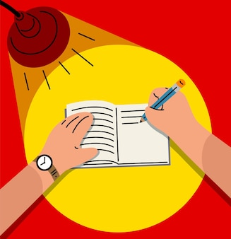 Hand writing on a book under a bright desk lamp vector illustration