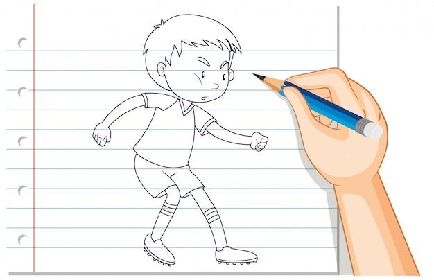 La scrittura della mano del ragazzo che gioca a calcio contorno