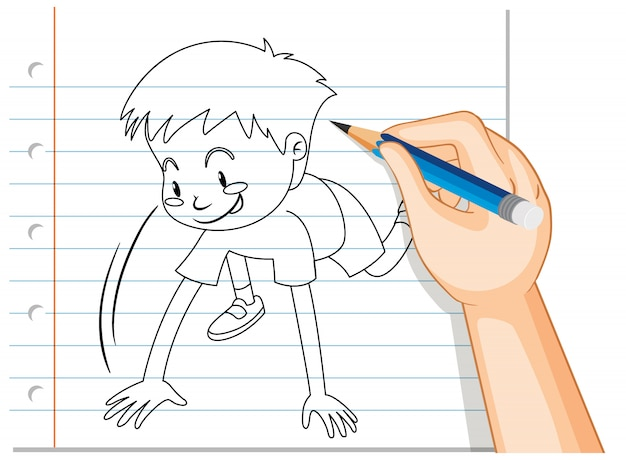 Hand writing of boy starting run pose outline