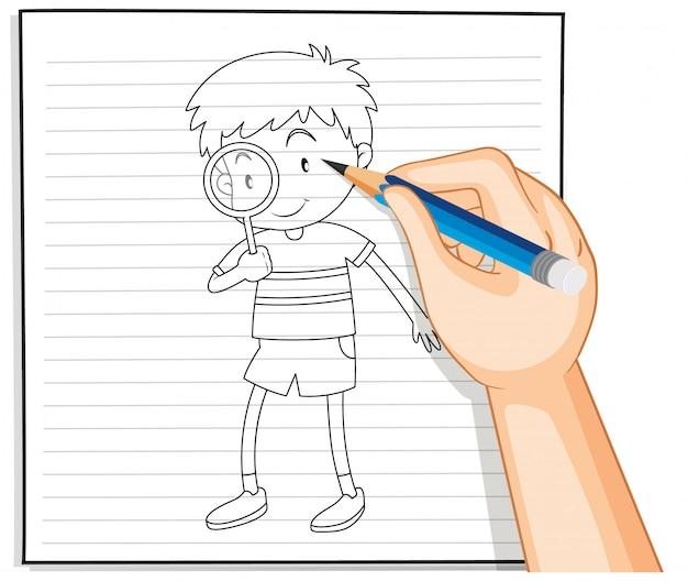 Scrittura della mano del ragazzo utilizzando il contorno della lente di ingrandimento