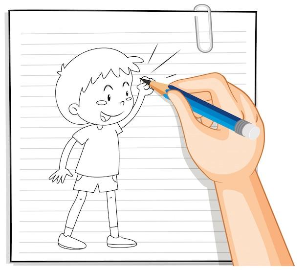 Scrittura della mano del ragazzo con contorno di posa di combattimento