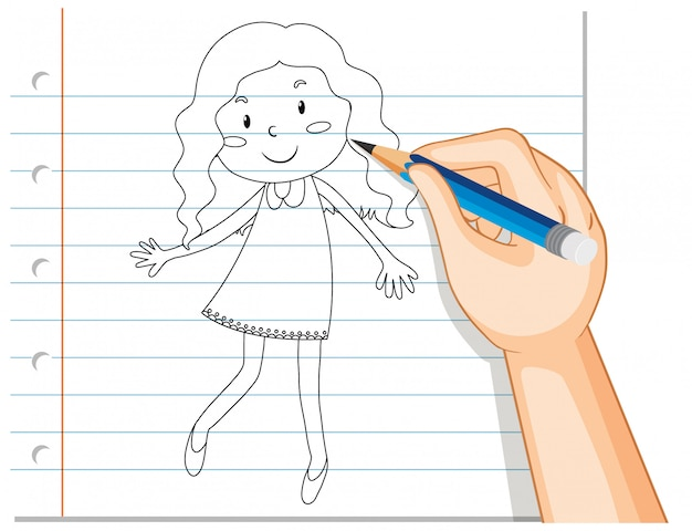 Hand writing of cute curl long hair girl outline
