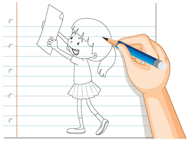 Hand writing of girl holding paper outline