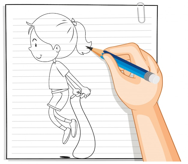 Hand writing of girl jumping rope outline