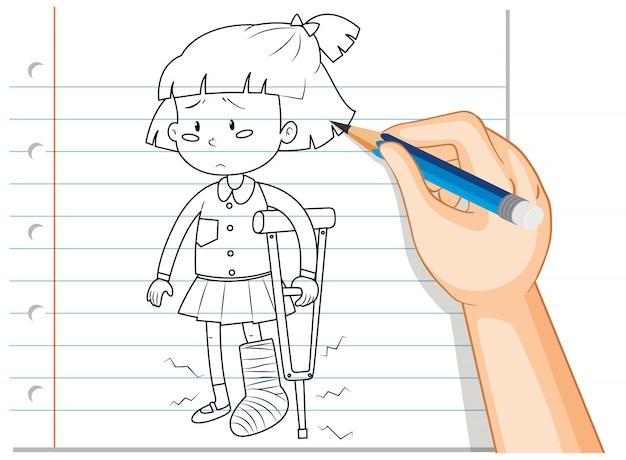 Hand writing of girl using crutch outline