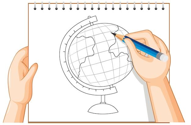 Hand writing of globe model outline
