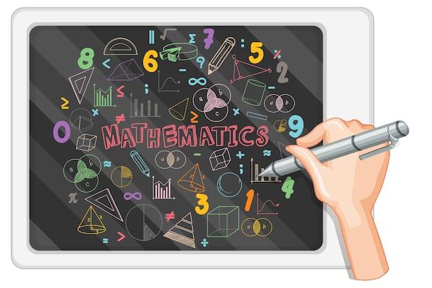 Hand writing math formula on blackboard