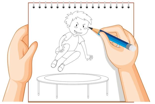 트램폴린 개요에 점프하는 소년의 손 쓰기