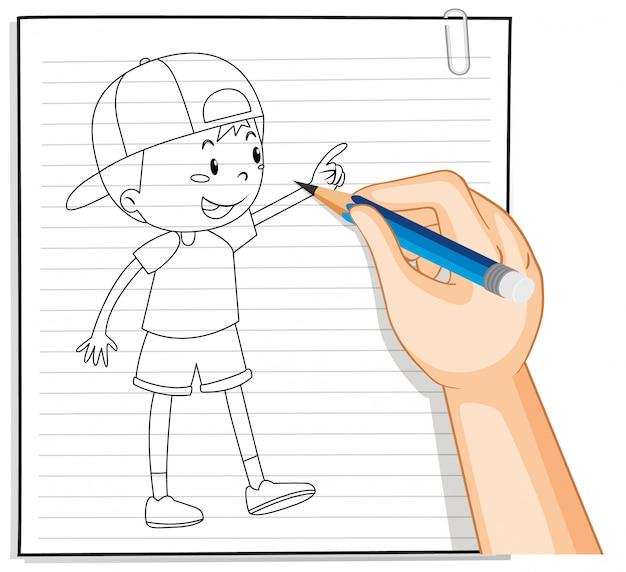 Почерк милый мальчик наброски