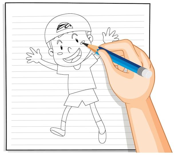 キャップのアウトラインを身に着けているかわいい男の子の手書き