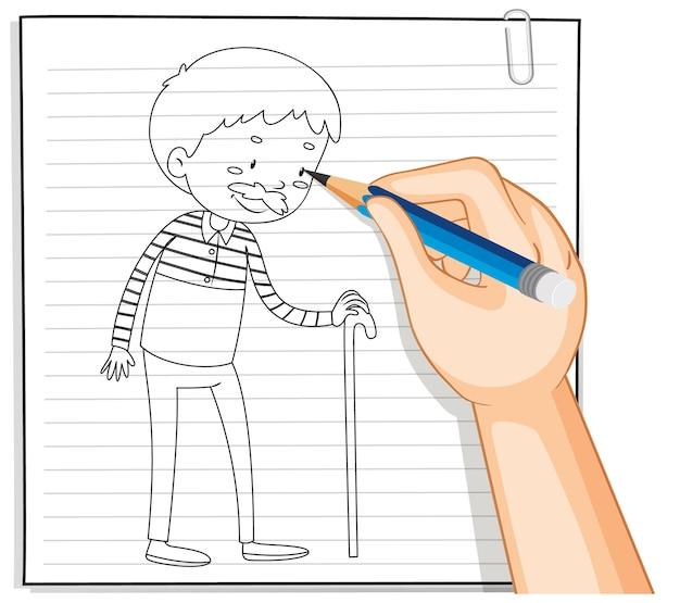 杖の概要を保持している老人の手書き