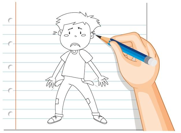 若い男の悲しい失望した概要の手書き