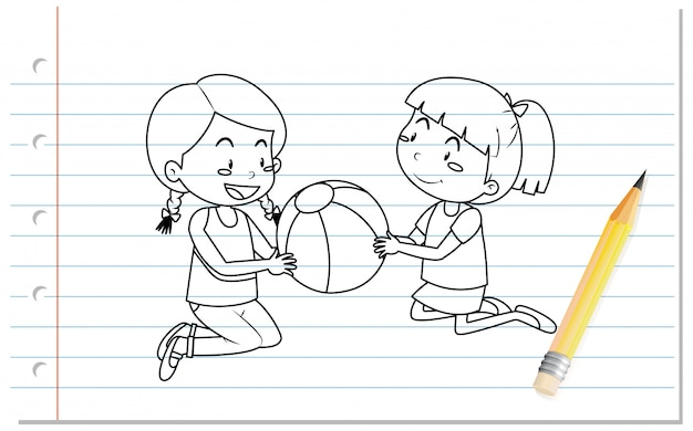 Hand writing of two girls playing the ball outline