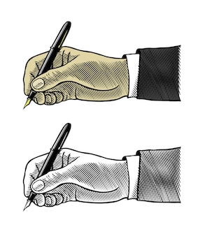 만년필로 쓰는 손