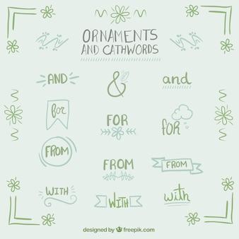 Рука, написанные словечками с орнаментом в зеленом цвете