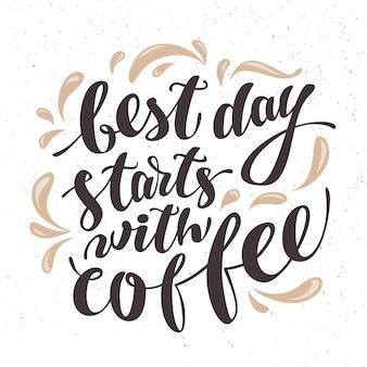 Рукописные цитаты кофе на текстурированном фоне. векторная иллюстрация.