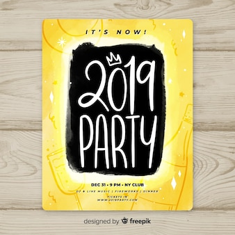 Hand written new year poster template
