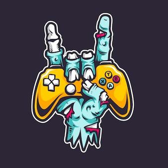 Hand zombie gamer cartoon illustration