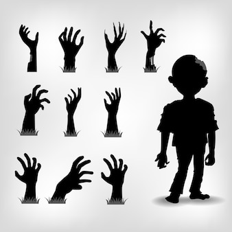 Hand and zombies set for object halloween day