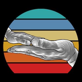 Семья hand ретро иллюстрация