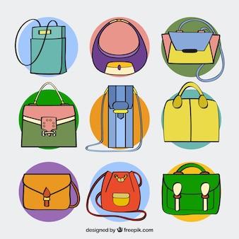 -hand描かれたスタイルでハンドバッグコレクション