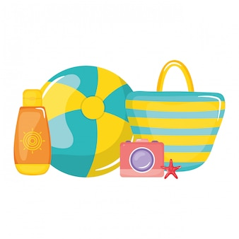 Handbag female with balloon plastic toy and camera