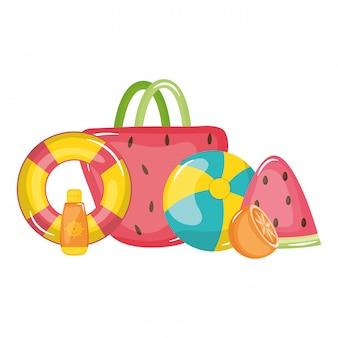 Handbag female with set summer icons