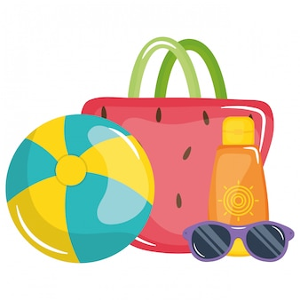 Handbag female with sunglasses and balloon toy