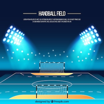 Handball field background in realistic style