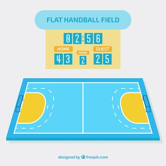 Handball field in flat style