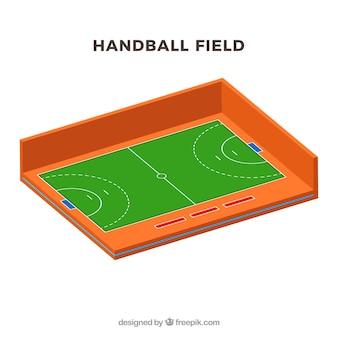Handball field in isometric style