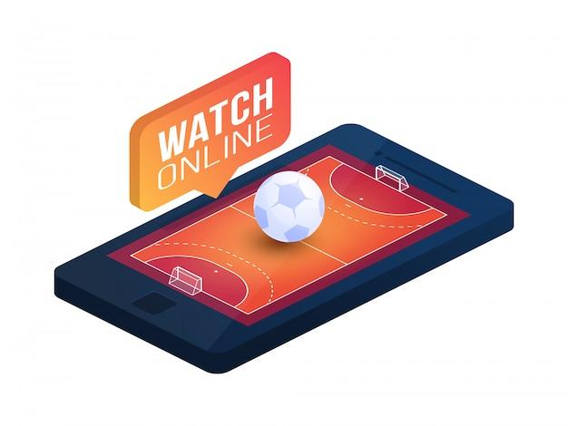 전화 화면 온라인 개념 아이소 메트릭 그림에 핸드볼 필드. 온라인 핸드볼 아이소 메트릭 개념입니다.