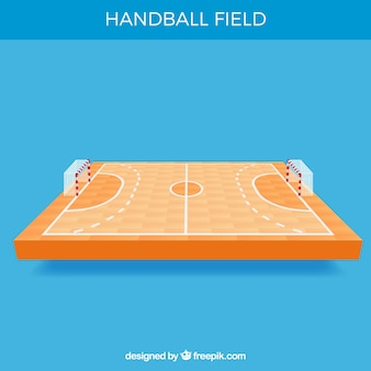 Handball field with perspective view
