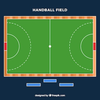 Handball field with top view in flat style