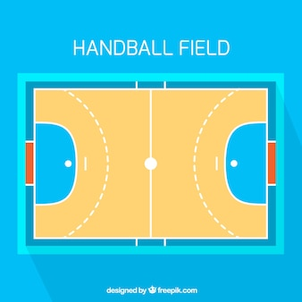 Handball field with top view