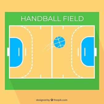 Handball field with top view