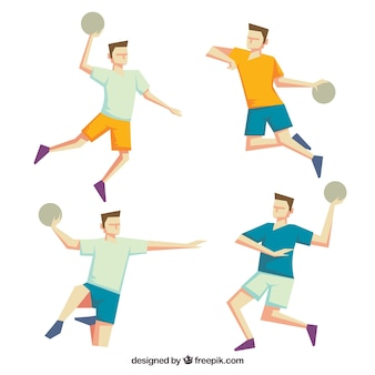 Handball player collection with flat design