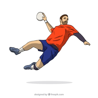 Handball player in hand drawn style