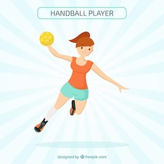 Handball player in hand drawn style