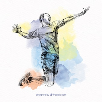Handball player in sketch style